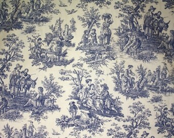 """Designer Fabric - Blue Toile, 1.5 Yard Piece, 56"""" Width, Waverly Country Life, Vintage Fabric Remnant"""