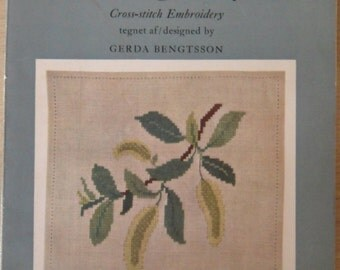 Vintage Danish Cross Stitch book / by Gerda Bengtsson / 50s / Korsstingsarbejder I