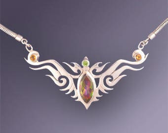 70% Off CLEARANCE SALE - Tribal-Celtic Necklace with Mango Topaz, Citrine and Peridot - Unique Handmade