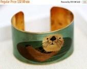 ON SALE Otter Brass Cuff Bracelet jewelry gift