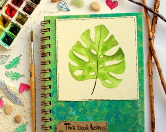 Notebook / Journal, diary,  hand painted watercolors Monstera