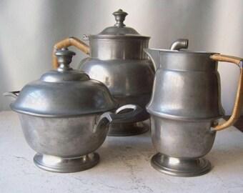 Vintage Pewter Tea Set Rattan Handles Tea Service 1950s