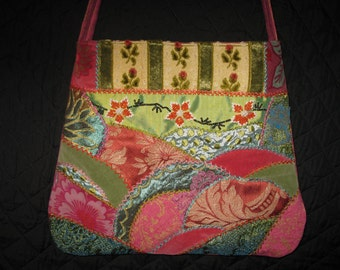 Boho Pink and Green Pearled Crazy Quilt Purse. Embroidered Unique handmade Cross body Bag