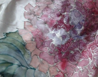 Lovely Floral Batik Like Hand Painted Silk Scarf Shades of Pinks and Greens Beautiful Silver Outlining Made and Signed by Monika Kaiser 1990