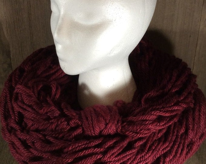 Super Bulky Arm Knit Infinity Scarf ~ Napa Valley Pinot