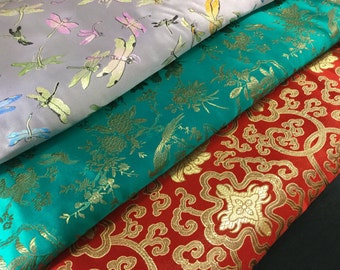 """45"""" Chinese Brocade Fabric Red Green Teal Gold Lilac Dragonfly Pattern Floral Bird for Decorative Pillow Cover Runner Jacket Robe Costume ST"""