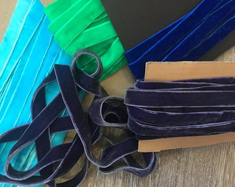 "5/8"" Wide (16 mm) Luxurious Double Sided Reversible Royal Blue Aqua Purple Green Velvet Ribbon Trim Two Faced for Gift Wrap Sewing Millinery"