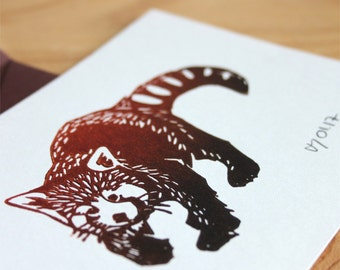 Red Panda postcard with brown envelope, original linocut print, signed and dated