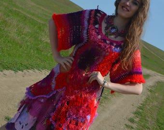 Asymmetric freeform crocheted statement lagenlook dress  tunic wearable art piece  one-of-a-kind bohemian dress gypsy