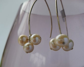 Sterling Silver Freshwater Pearl Cluster Earrings UK made