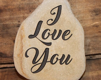 Engraved Natural River Stone - I Love You