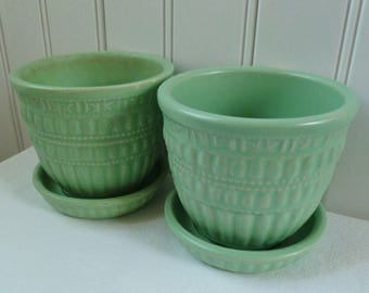 2 McCoy Flower Pots. Matte Green Beaded Pottery Planter with Saucer, Pair. Vintage 1950s. Cottage, Garden, Beach House, Mid Century Decor.