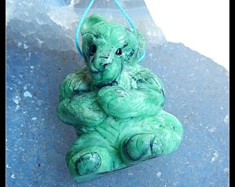 The Bear,Handmade Carved Turquoise Gemstone Pendant Bead,36x27x17mm,13.2g