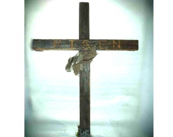 RISEN , Rustic Easter Cross - add to wreath, put as table centerpiece, hang on wall or door...