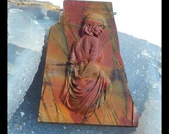 Carved Multi-color Picasso Jasper  Goddess Gemstone Pendant Bead,69x50x9mm,41.4g