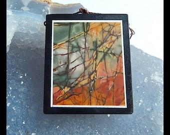 New,Black Stone,Multi-Color Picasso Jasper Intarsia Pendant Bead,39x32x6mm,19.3g