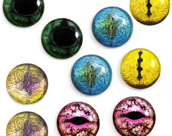 5 Pairs 30mm Snake Reptile Glass Eye Cabochons Set of 10 Eyes  - Bulk Wholesale Lot - Taxidermy Art Sculptures or Jewelry Making Supply