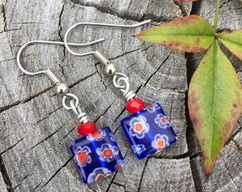 Blue and Red Millefiori Glass Squares . Earrings