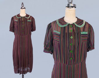 1930s Dress / 30s Semi Sheer Striped Day Dress / Bold Colorful Stripes