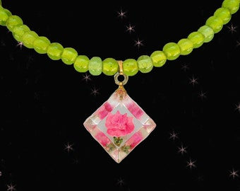 Retro Choker Necklace with  Vintage Reverse Carved Lucite Pendant - Hot Pink & Green