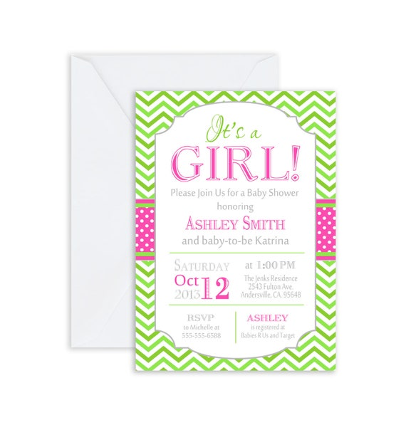 Printed its a girl baby shower invitation lime green pink il570xn filmwisefo
