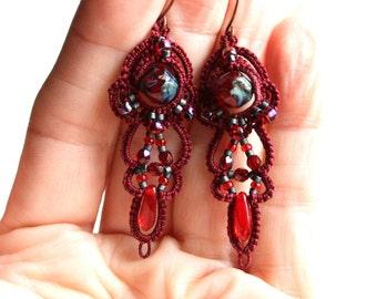 Burgundy Deep Red Tatting Lace Fiber Czech Glass Beads Beaded Chandelier Style Earrings