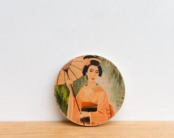 Paint by Number Circle Art Block 'Parasol Geisha' -  geisha girl, asian art, kimono, chinese parasol, japanese art, vintage art
