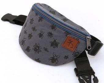 Fanny pack, bum bag, hip bag, waist bag, festival, concert, travelling bag, designer grey bugs print