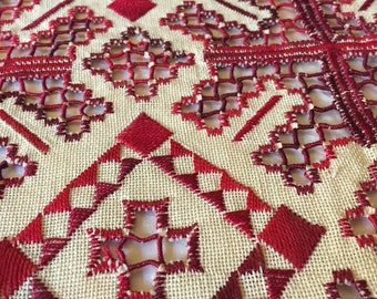 Vintage Pillow Cover Hand Embroidered , Cut Work Embroidery Cream Linen Ground with Red and Burgundy Geometric Design
