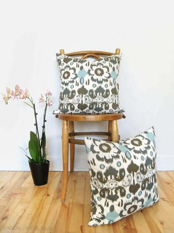 SALE || Ikat Decorative Throw Pillow Case | 20x20 or 18x18 | Modern Home Decor | Cushion Cover in Taupe, Charcoal Gray, Aqua Blue and Ecru