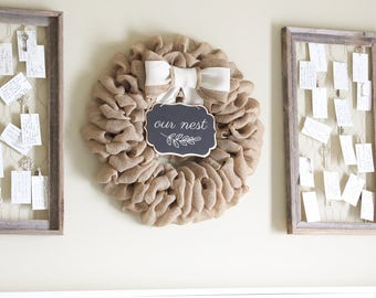 Indoor Wreath for Wall, Unique GiftsFor New Home Front Door Welcome Sign Custom Wreath, Personalized Gifts For Mom, Fixer Upper Decor