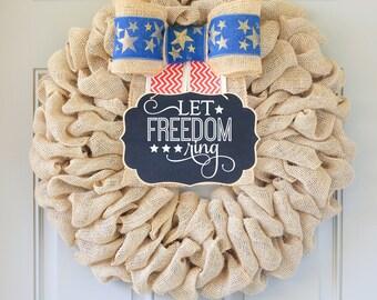 Let Freedom Ring, Patriotic Wreath,  Summer Wreath, 4th of July Wreath, Patriotic Decor, Summer Wreaths For Front Door, Large Premium Wreath