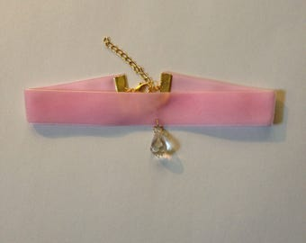Light Pink Velvet Choker with Crystal Charm