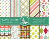 40% off Mini Flowers Paper Pack - 10 printable Digital Scrapbooking papers - 12 x12 - 300 DPI