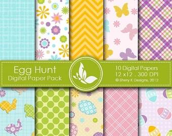 40% off Egg Hunt Paper Pack - 10 printable Digital Scrapbooking papers - 12 x12 - 300 DPI