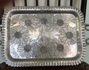 Vintage Hammered Aluminum Serving Tray....late 1930s