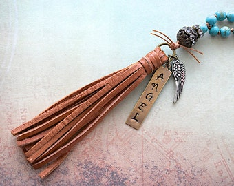 Blue Howlite Knotted Beads / Saddle Tan Deerskin Tassel / Hand Stamped Angel Tag / Necklace