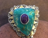 Turquoise and Sugilite statement ring, sterling silver ring, sugilite  ring, turquoise, Sugilite, spiral jewelry