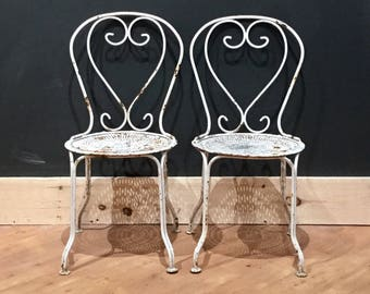 Parisian Patio Chairs | Set of Two | Vintage | Chippy Paint | Wrought Iron | Shabby Chic | Garden Whimsy