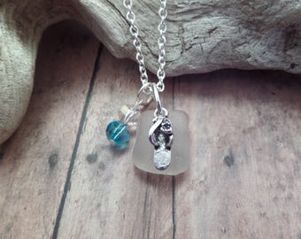Scottish Sea glass Necklace in Turquoise blue and White with Flip Flop Slipper Charm in Silver, Gift from Scotland