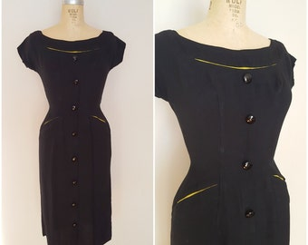 Vintage 1940s Black Dress with Yellow Peek-A-Boo Trim / Wiggle Dress / 40s Fitted Dress / XS