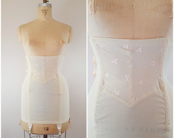 Vintage 1950s Girdle / Waist Shaper / Waist Cincher / Cream and Pink / Size 28