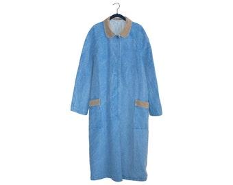 Vintage Light Blue Long Denim Coat Sailor Stripe Lining & Corduroy Color Made in USA - Medium