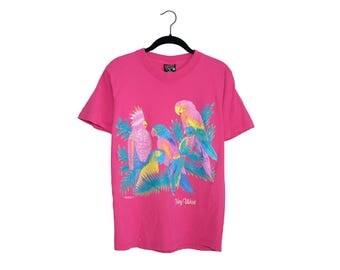 Vintage 90's Key West Bright Pink Palm Parrots In Tropical Trees Tourist  100% Cotton Crewneck T-Shirt, Made in USA - Small