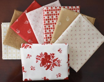 Midwinter Reds Fat Quarter Bundle of 8 by Minick & Simpson of Moda LAST ONE