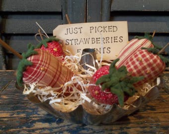 Gathering of Primitive Handmade Strawberries in Vintage Tin Fluted Pan