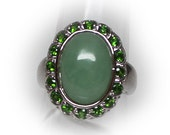 Lovely Sterling Silver Ring with Jade Center Stone accented with Tsavorite