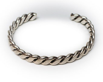 Sterling Silver Twisted and Rolled Cuff Bracelet