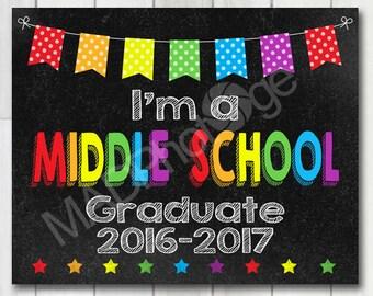 I'm a Middle School Graduate Chalkboard sign, Instant Download, Last Day of School, Back to school sign, Preschool Graduation invitation