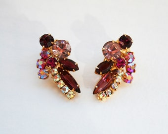 Vintage Juliana DeLizza and Elster Pink Magenta Purple Aurora Borealis Earrings